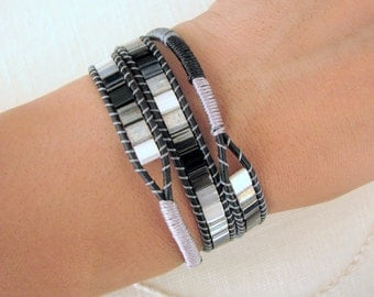 Tila Wrap Bracelet with Macrame Black Leather and Button Clasp
