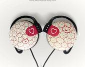 Girly headphones earphones heart cartoon custom made painted