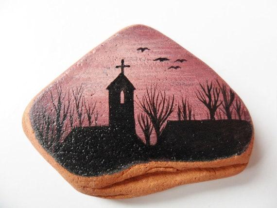 Sunset church - Miniature painting on English sea pottery - original acrylic art