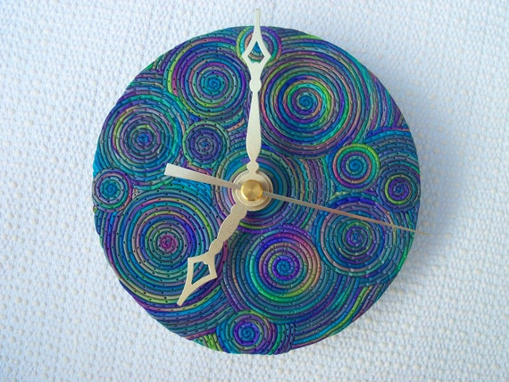 Recycled CD Wall Clock, polymer clay, Peacock Swirls