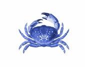 Crab Blue Nautical Vintage Style Art Print Beach House Decor