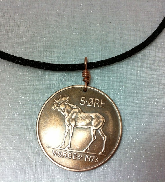 Coin Jewelry - Vintage Norse MOOSE COIN NECKLACE - Norway - Norwegian - Elk - man - woman -