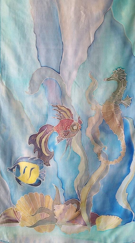 Batik silk scarf  - Underwater World  - handmade, painted by hand