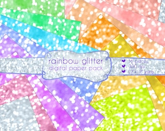 Glitter Rainbow Digital Paper Pack 16 Pages Instant Download