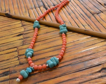 Blue and Orange-Coral and Turquoise Pendant Necklace