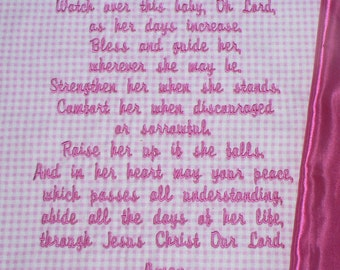 Embroidered Baby Blanket ~  Blessings Prayer for GIRLS~ Customized Baby Keepsake, personalized Christian gift, christening blanket