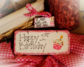 BIRTHDAY Personalized Sign Gift Cupcake Wall Decor Hanger