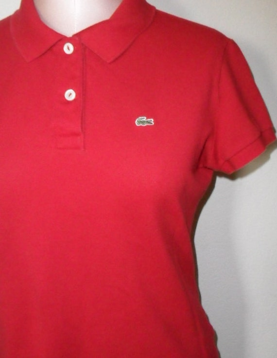 Vintage lacoste polo shirt red size 42 alligator for Lacoste shirts with big alligator