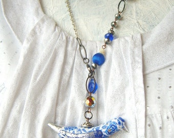 Bird pendant whimsy OOAK shabby chic handsculpted pendant white blue rose print clay silver winged made by Coco Star
