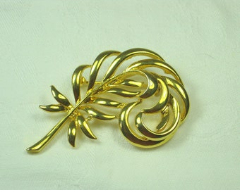 Vintage FEATHER BROOCH Gold Scarf PIN Jewelry Gift