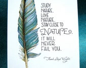 Feather Art. Study Nature, Love Nature Quote. Frank Lloyd Wright. Teal Blue. 5x7 Print - PattieJansen