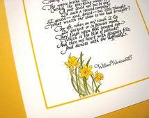 Daffodils. English Romantic Literature Art. Wordsworth Calligraphy Poem Print, 8x10