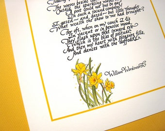 Daffodils. English Romantic Literature Art. Literary Gift. Wordsworth Calligraphy Poem Print, 8x10