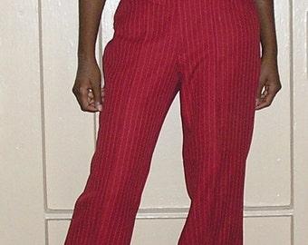 1970s vintage 3 piece suit h bar c burgundy pinstripe jacket vest pants size small medium