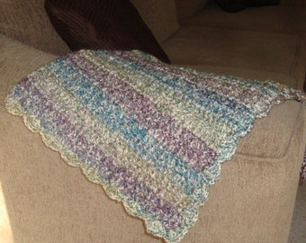 "Teal, Lavender, Sage Green, Cream Baby Blanket 26""x30"""