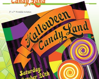 Halloween Candy Party Invitation - Printable DIY - Trick or Treat - Print it Yourself - Halloween Candyland Party