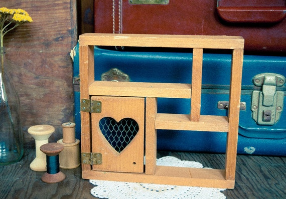 Vintage Wooden Heart Display Box