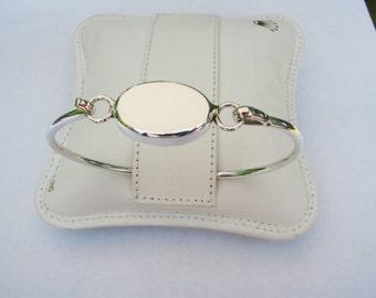 Monogram Bracelet Personalized Custom Engraved Sterling Silver Oval Monogram Bracelet - Hand Engraved
