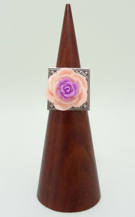 Flower Statement Ring, Pink and Purple Rose On Top of a Silver Filigree Adjustable Ring Band