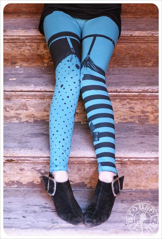 Pippi Leggings - AQUA Black Striped Legging Polka Dot Legging - AQUA - witch Legging - MEDIUM Legging Womens Tights