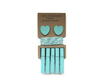 Mini Clothespins with Twine and Heart Tack - Aqua. Art Display. Photo Display. Clothespin Clothesline.