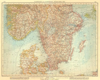1922 Large Vintage Map of South Sweden and Norway Antique Lithograph Print