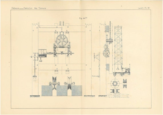 Lifts Antique Technical Drawing Engineering Illustration to Frame