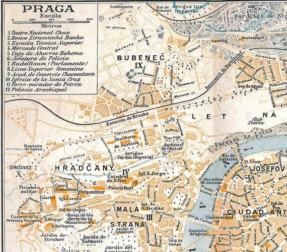 Prague Vintage City Map Street Plan 1920s  Prague