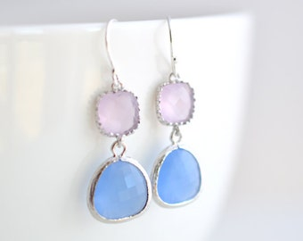30% OFF, Rose quarts and Chalcedony earrings, Silver Earrings, Wedding earrings,Bridal jewelry,Clip earrings,Bead earrings,Crystal earrings
