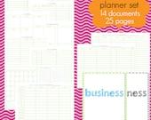 Business Planner Set - EDITABLE / FILLABLE PDF - 27 pages