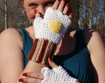 Bacon and Egg Fingerless Mitts