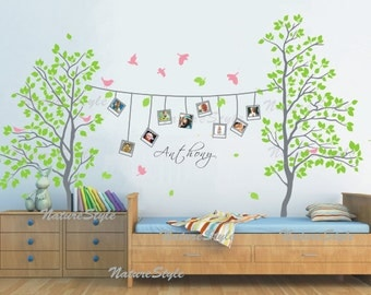 Two Trees with Flying Birds -Vinyl Wall Decal,Sticker,Nature Design nursery room decal baby decal baby decal