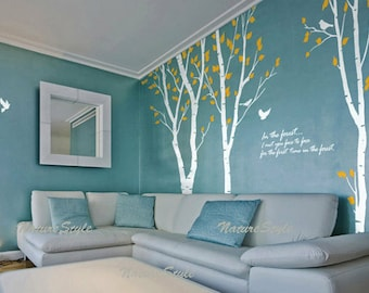 vinyl wall decal birch trees wall decal quote decal nursery decal kids room wall decal birds - 3 Birch Tree with Flying Birds and Letters