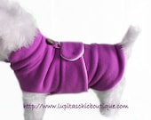 Orchid Purple Pink Dog Coat.In a  Burrito Wrap™ Style  with Premium White Fleece Lining - Cozy Sweater Wrap for Winter to Keep Your Pet Warm