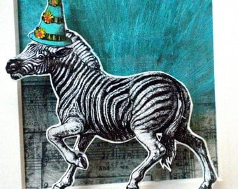 Blank greeting card: Zebra's Party Hat