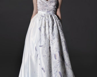 SALE ONE LEFT  of our Strapless Dove Purple Wedding Dress// Sweet heart neckline  Hand Painted Rosettes and a full skirt hand painted