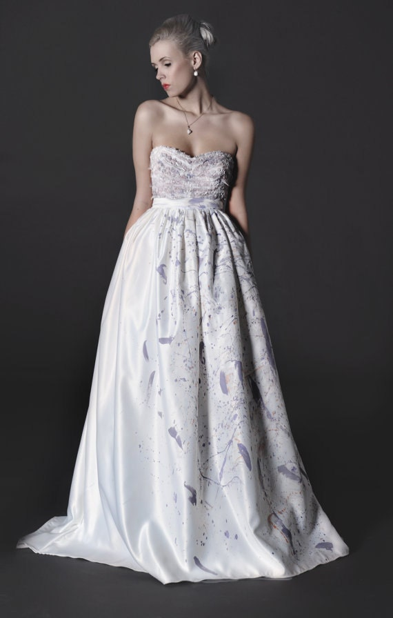 Only one left of our strapless dove purple wedding by for Wedding dress skirt only