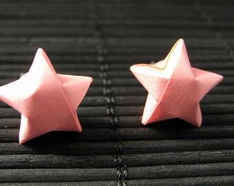 Star Earrings. Pink Star Earrings. Oragami Star Earrings. Paper Star Earrings. Silver Post Earrings. Stud Earrings. Origami Jewelry.