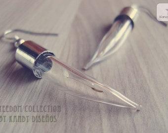 Wish earrings. Dandelion bottle earrings. Vial earrings. Dandelion jewelry Make a wish earrings Botanical earrings Fang tusk bottle earrings