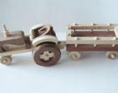 Childrens- Toy  - Natural Wood - Farm Tractor w Wagon - Childrens Toy - Pretend Play Waldorf  Handmade  Woodworking