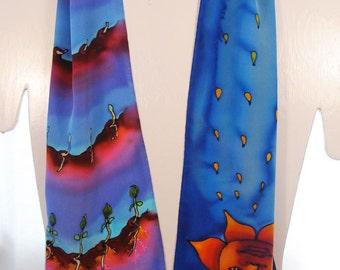"Hand-painted silk scarves. Handmade silk scarf. Garden Silk Scarf. Sun,Rain,Seed. Hand painted silk scarf. 8""x52"". Handpainted silk scarves"