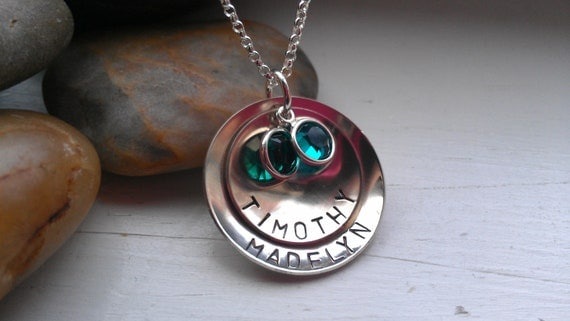 Personalized Custom Stacked Discs - Hand Stamped Mommy Jewelry - On Trend Mom Necklace - Mother's Day