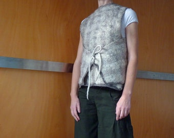 Cream vest, top,  size S/M, felted wool, natural designer clothing, eco friendly clothing, urban hippie