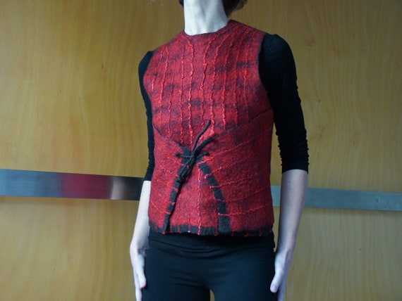 Red vest, red top,  felted wool, size XS/S, natural designer clothing, eco friendly clothing, funky women's clothing