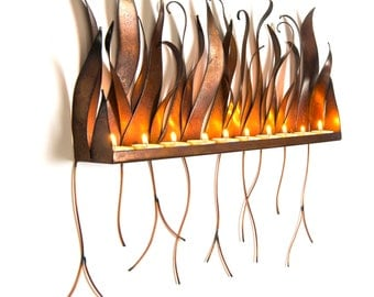 Metal Candle Holder - Wall Sculpture Sconce For Candles Or Tea Lights