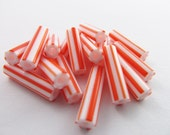 50 Vintage 18mm Plastic Orange and White Striped Tube Beads Bd237