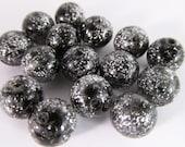 20 Vintage 10mm Lucite Silver Glitter Black Beads Bd360