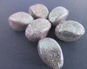 10 Vintage 15mm Sparkly Lavender Lucite Glitter Twist Beads Bd453