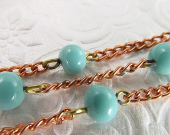 3 Ft Vintage Turquoise 5mm Glass Beads on Copper Plated Chain Ch135