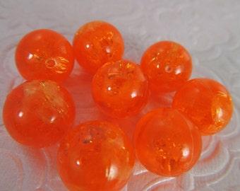 16 Vintage 14mm Neon Orange Crackle Transparent Beads Bd295